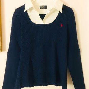 Polo By Ralph Lauren Navy Blue Collared Sweater